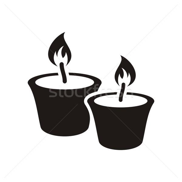 Christmas kaarsen zwarte vector icon geïsoleerd Stockfoto © blumer1979