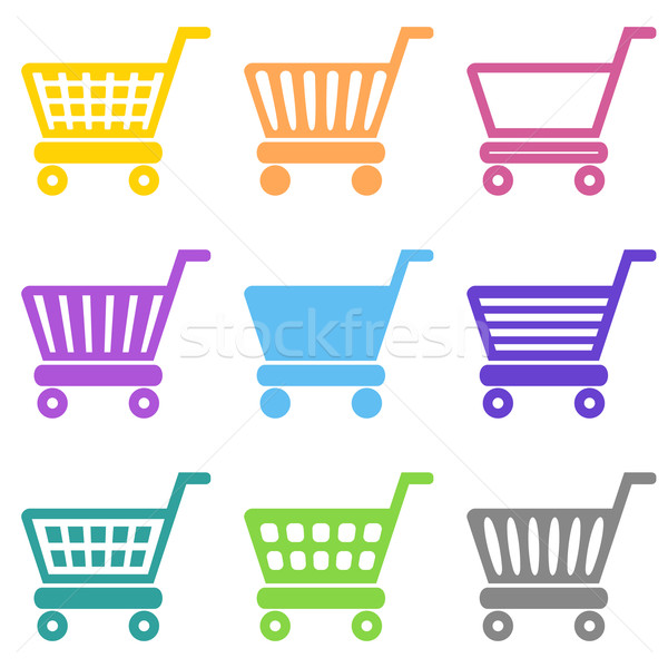Stock photo: Colorful vector shopping cart icons