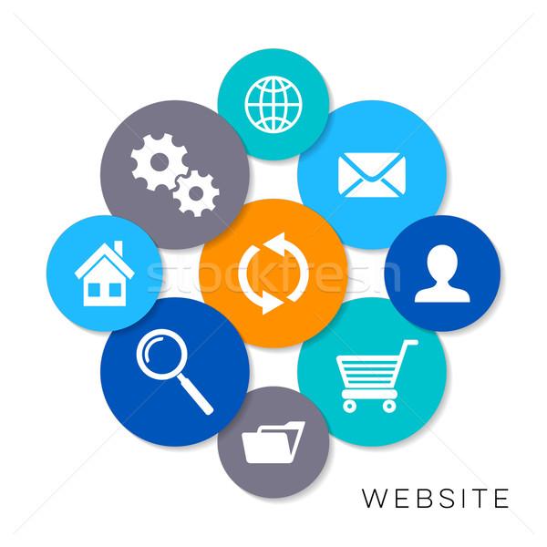 Vector website iconen moderne kleurrijk Stockfoto © blumer1979