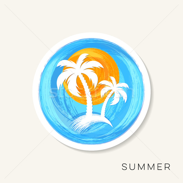 Sun and palm trees brush strokes Stock photo © blumer1979