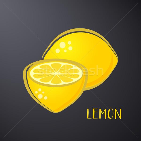Creative vecteur citron illustration isolé noir Photo stock © blumer1979