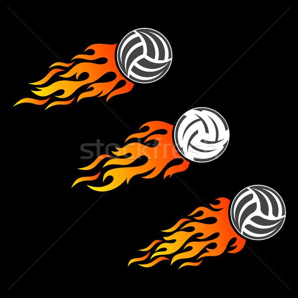65605c595 Voleibol bola chamejante vetor logotipo projetos Foto stock © blumer1979