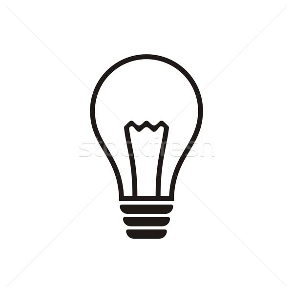 Ampoule icône noir vecteur blanche technologie Photo stock © blumer1979