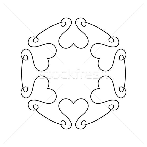 Gliederung romantischen Rahmen Hochzeitseinladung einfache Vektor Stock foto © blumer1979