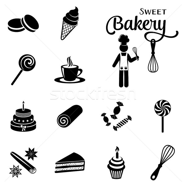 Bakery and sweets silhouette icons collection Stock photo © blumer1979