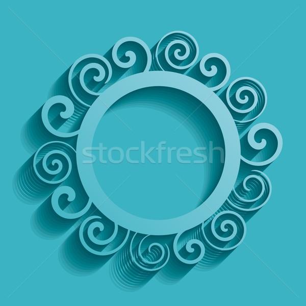 Résumé ornement turquoise vecteur vintage spirale Photo stock © blumer1979