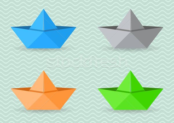 Paper origami boats Stock photo © blumer1979