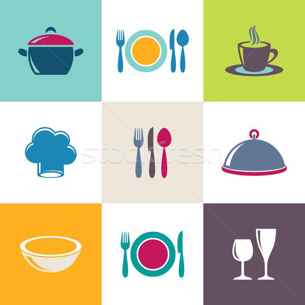 Stok fotoğraf: Restoran · menü · simgeler · toplama · vektör · renkli