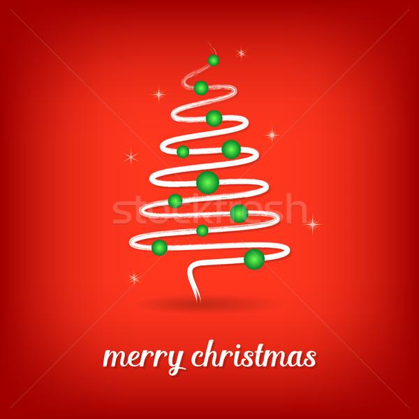 Vektor karácsonyi üdvözlet karácsonyfa piros fehér kéz Stock fotó © blumer1979
