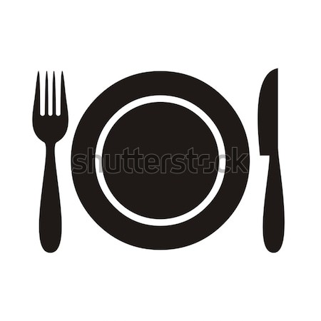Stockfoto: Restaurant · menu · icon · plaat · vork · mes