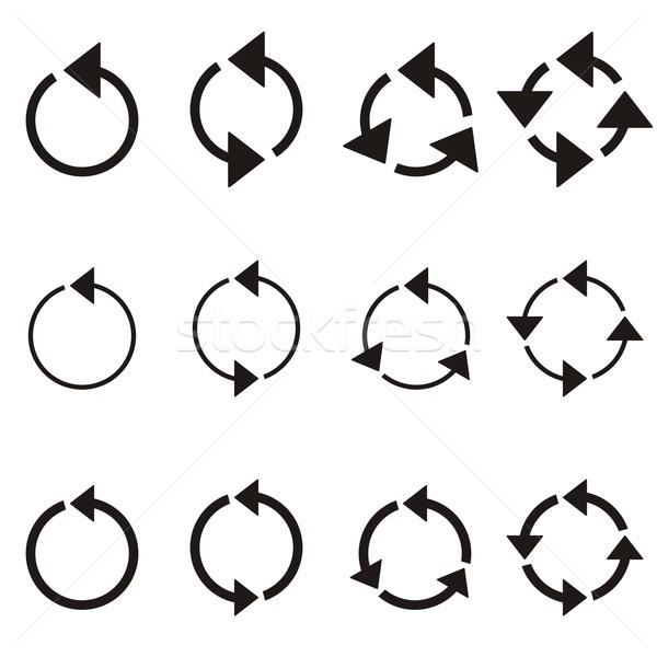 круга Стрелки черный коллекция изолированный белый Сток-фото © blumer1979