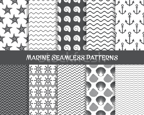 Sea and marine seamless patterns Stock photo © blumer1979