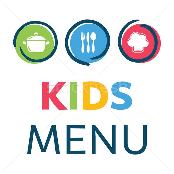 Yaratıcı çocuklar menü tasarım şablonu çocuklar arka plan Stok fotoğraf © blumer1979