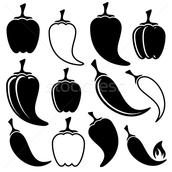 Vector black peppers icons Stock photo © blumer1979