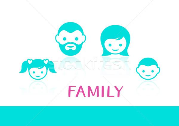Wektora rodziny kolorowy twarz ikona refleksji Zdjęcia stock © blumer1979