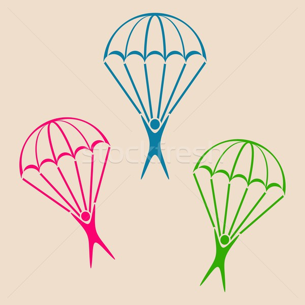 Parachute jumper icon Stock photo © blumer1979