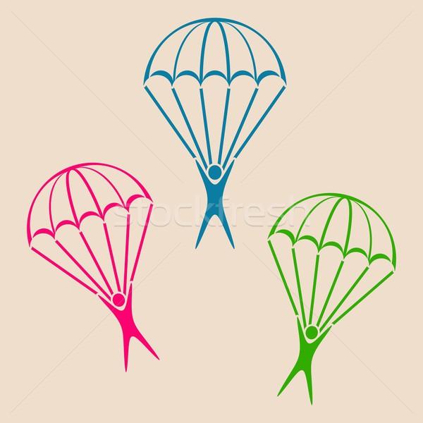 Stock photo: Parachute jumper icon