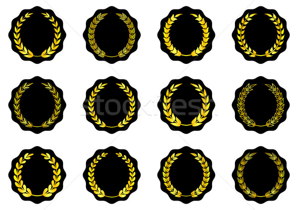 Címkék arany babér fekete vektor sport Stock fotó © blumer1979