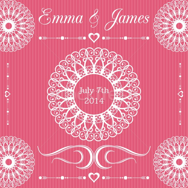 Invitation de mariage modèle carte dentelle ornements mariage Photo stock © blumer1979