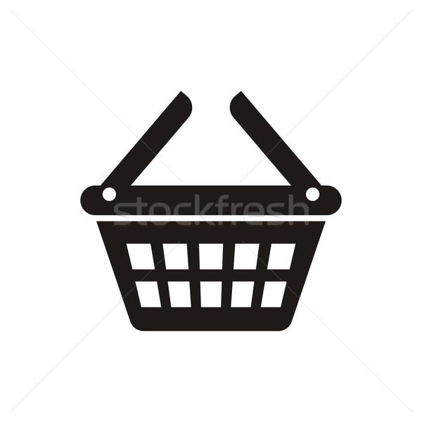 Bevásárlókosár ikon fekete vektor fehér üzlet Stock fotó © blumer1979