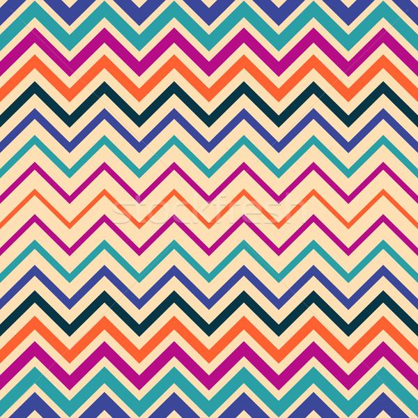 Colorato vettore senza soluzione di continuità zig-zag pattern semplice Foto d'archivio © blumer1979