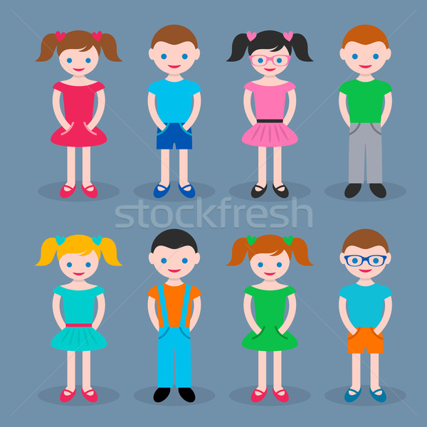 Cute jongens meisjes geïsoleerd grijs familie Stockfoto © blumer1979