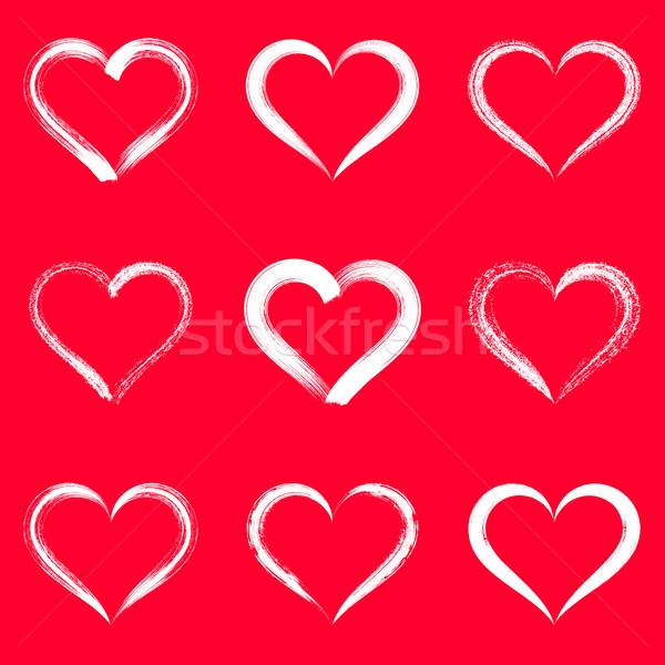 Fehér vektor ecsetvonások szívek körvonalak Valentin nap Stock fotó © blumer1979