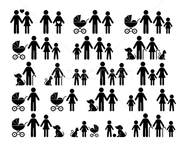 Black vector family pictograms Stock photo © blumer1979