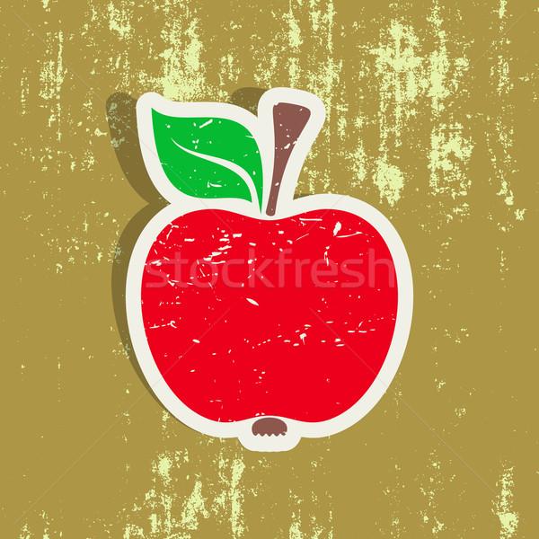 Manzana roja etiqueta vector papel resumen hoja Foto stock © blumer1979