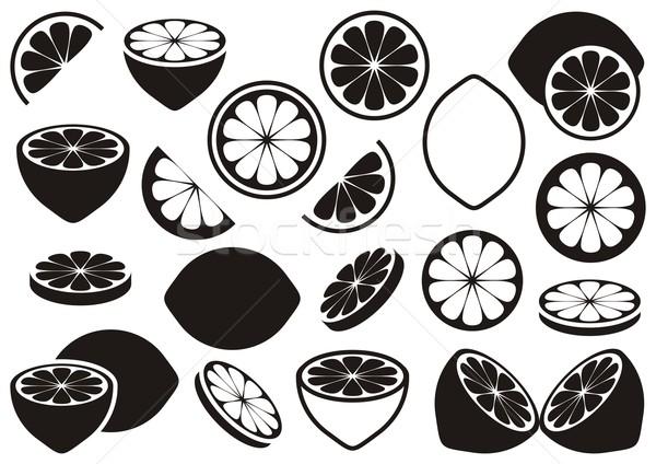 Citron icônes noir vecteur isolé blanche Photo stock © blumer1979