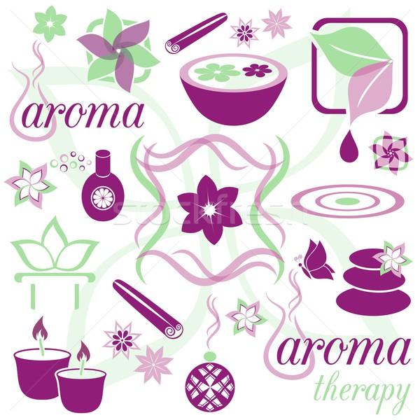 Aromaterapi mor yeşil simgeler çiçek Stok fotoğraf © blumer1979