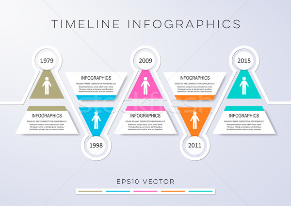 Idővonal infografika vektor design sablon színes modern Stock fotó © blumer1979