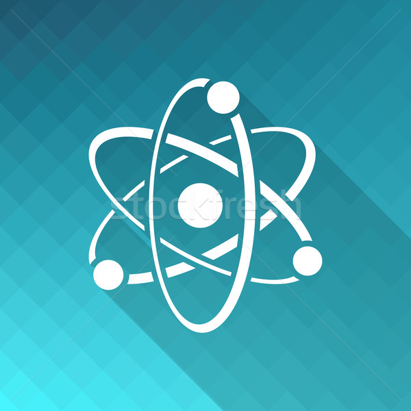 атом икона белый вектора синий мозаика Сток-фото © blumer1979
