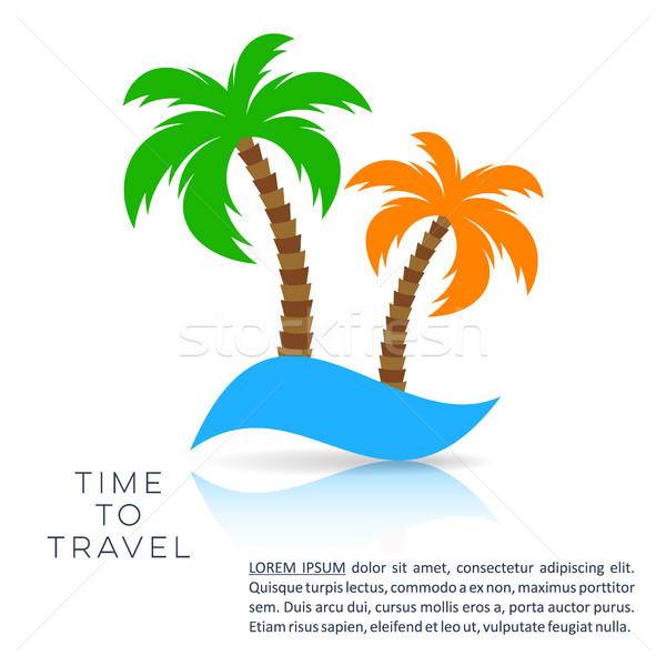 Vector vacaciones viaje plantilla de diseño palmeras playa Foto stock © blumer1979