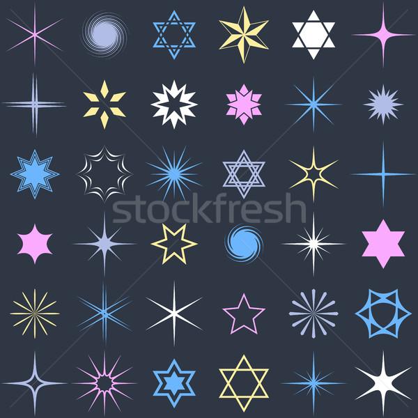 étoiles design brillant vecteur ensemble Photo stock © blumer1979