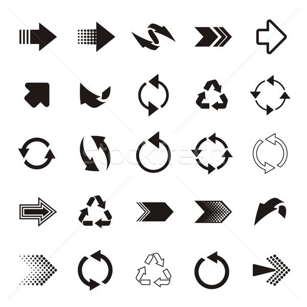 Ok işareti simgeler siyah basit vektör büyük Stok fotoğraf © blumer1979