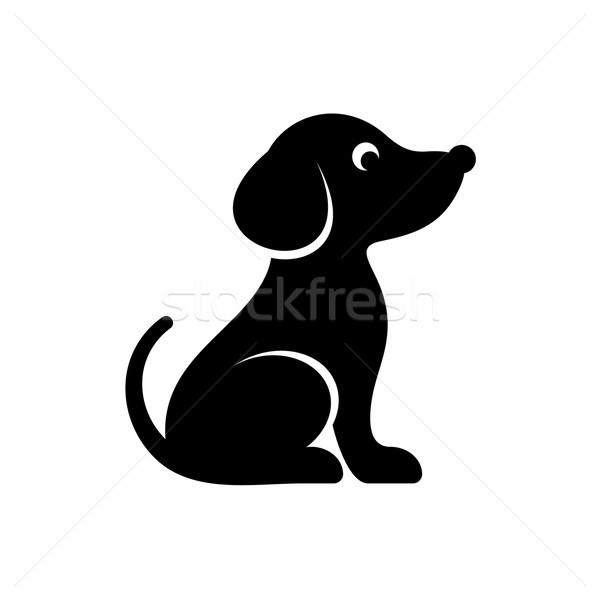 Cute zwarte vector hond icon geïsoleerd Stockfoto © blumer1979