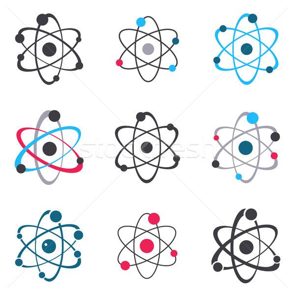Vektor atom felirat logo ikonok gyűjtemény Stock fotó © blumer1979