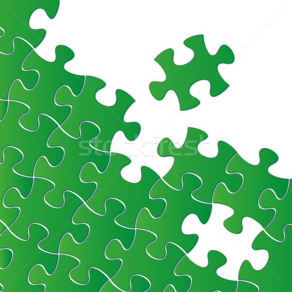 Stok fotoğraf: Vektör · soyut · yeşil · puzzle · parçaları · kâğıt