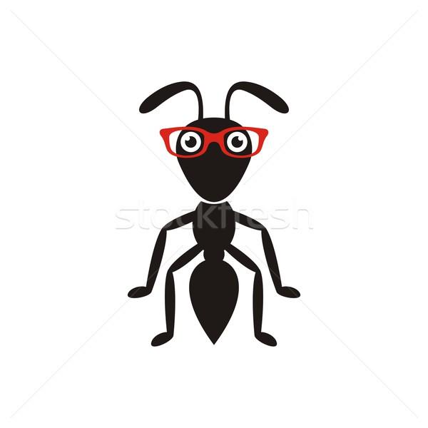 黒 アリ 眼鏡 単純な 赤 ストックフォト © blumer1979