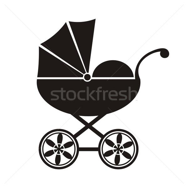 乳母車 かわいい 黒 アイコン 白 子 ストックフォト © blumer1979