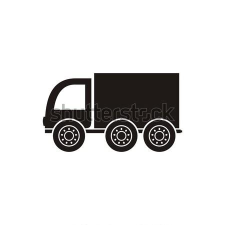 грузовик икона черный вектора изолированный белый Сток-фото © blumer1979
