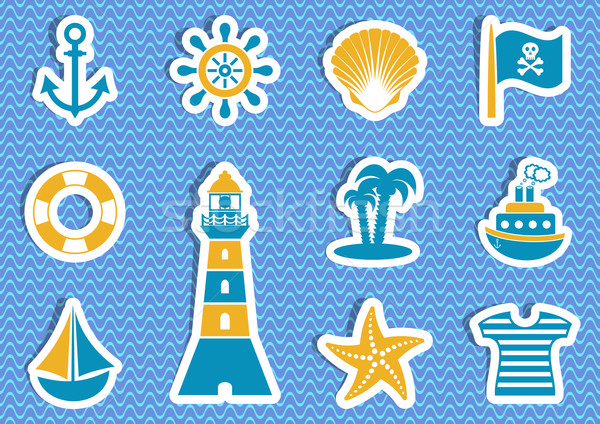 Marine and pirate vector labels Stock photo © blumer1979