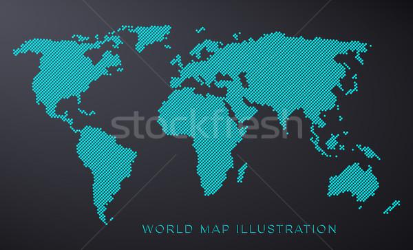 Punteggiata mappa del mondo isolato blu nero mondo Foto d'archivio © blumer1979