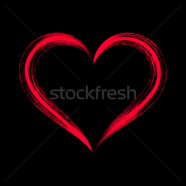 Red vector brush strokes heart Stock photo © blumer1979