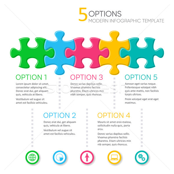 Five options modern infographic template Stock photo © blumer1979
