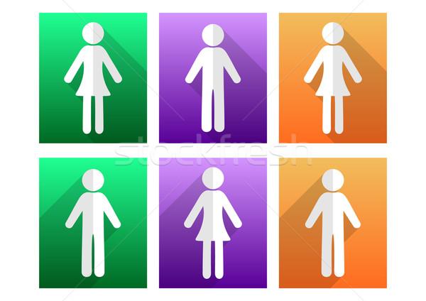 Сток-фото: человека · женщину · иконки · простой · дизайна · красочный