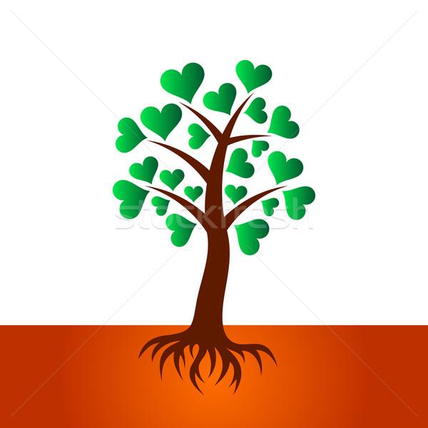 árbol corazón hojas raíces colorido resumen Foto stock © blumer1979