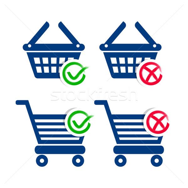 Bevásárlókosár kosár ikonok vásárlás felirat doboz Stock fotó © blumer1979