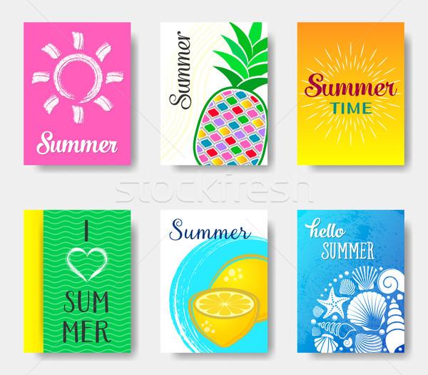 Mooie zomer kaarten collectie vector heldere Stockfoto © blumer1979